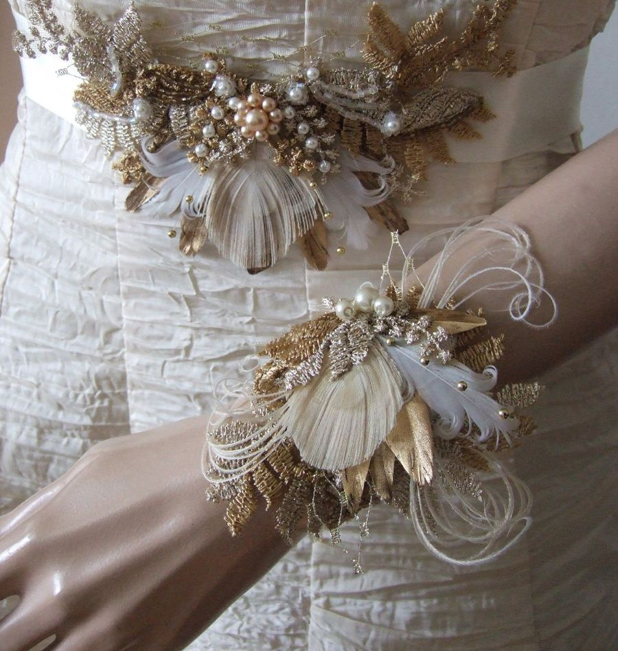 "Gold Pheasant Peacock Feathers Bridal Wrist Corsage Bracelet in Vintage Lace + Veil ""Cia"" - Antique and Light Gold"